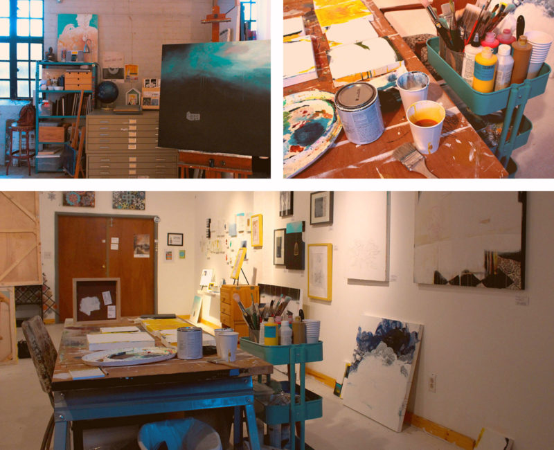 art studio collage with canvas